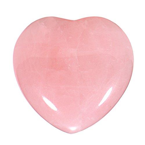 Piedras preciosas - gema Cuarzo rosado forma de corazón Ángel de la Guarda protector de 3 cm en una bolsa de terciopelo