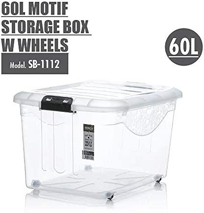 HOUZE Motif Storage Box with Wheels, Clear, 60L (SB-1112)
