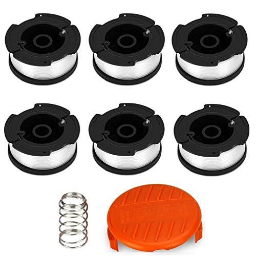 ELETEK Fadenspulen für Black & Decker Trimmer Spulen, Nylonfäden 6 x 9 m Länge ⌀1,65 mm Fadendurchmesser Spulen + 1 Kappe + 1 Feder für Black+Decker Trimmer