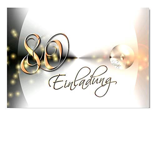 DigitalOase Einladungskarten 80. Geburtstag MIT INNENTEXT Geburtstagskarten MENGE WÄHLBAR Klappkarten Kuverts Format DIN A6#YANG (10)