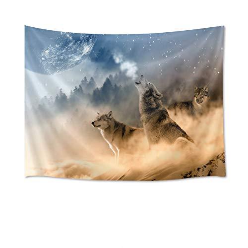 Tapeçaria de parede HVEST Wolf Tapeçaria de parede de animais selvagens Lobos uivam na neve pano de fundo manta de parede neve arte para quarto quarto dormitório decoração ao ar livre, 150 cm L x 130 cm A