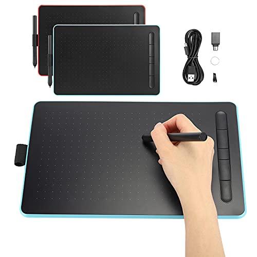 Tableta de dibujo de gráficos digitales Tableta de escritura a mano electrónica Tablero de dibujo de pizarra con 5 teclas de acceso directo para oficina de niños(rojo)