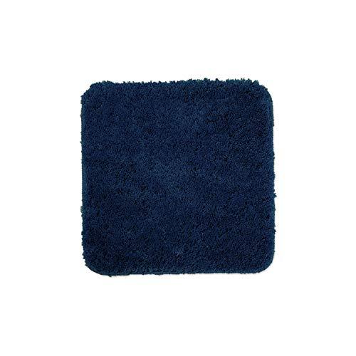 WohnDirect Tapis de Bain Bleu foncé • Sets modulables • Antidérapant, Absorbant et Doux• sans découpe WC, 45x45cm