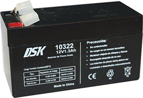 DSK 10322 - Batería Plomo Acido 12V 1,3 Ah, Negro. Ideal para alarmas de hogar, patinetes eléctricos, Juguetes eléctricos, cercados, balanzas.