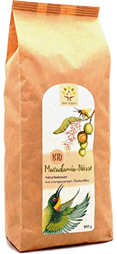 Bio-Macadamianüsse (800g), ohne Schale, naturbelassen aus transparentem Ökolandbau