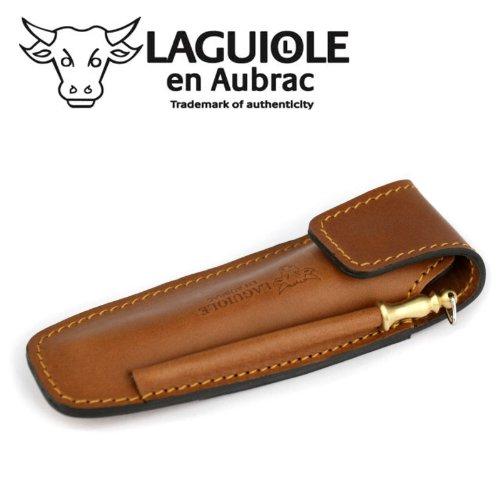 Laguiole en Aubrac EAF braunes Gürteletui aus Leder mit Schleifstab für EIN Taschenmesser