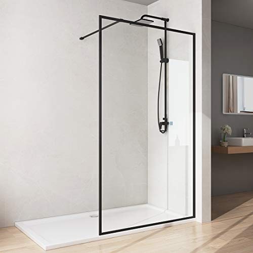 Bath-mann Duschwand Glas Duschabtrennung 90 x 200 cm Walk-in Dusche Duschkabine mit Stabilisator aus Echtglas 8mm ESG-Sicherheitsglas Klarglas Nanobeschichtung, Höhe: 200cm - Schwarzer Rahmen