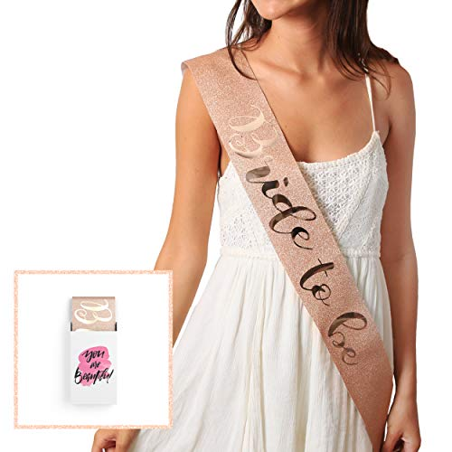 Glitter Rose Gold Bride to Be Sash - Bride Tribe Bachelorette Sash | Bachelorette Party Favors- Bridesmaid Sashes | Wedding Bridal Shower Gifts & Games | Engagement Party Decorations Supplies