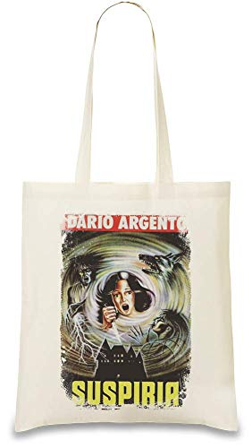 Design Things Suspiria Poster Custom Printed Tote Bag  100% Soft Cotton  Natural Color & Eco-Friendly  Unique, Re-Usable & Stylish Handbag For Every Day Use  Custom Shoulder Bags By