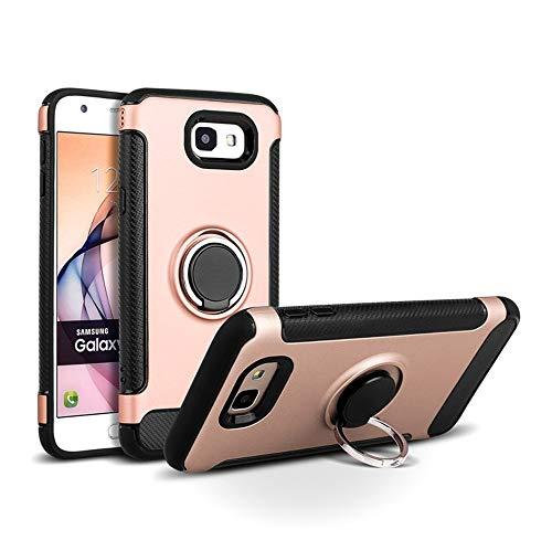 Hülle Galaxy J7 Prime Handyhülle Cover TPU Bumper 360 Grad Ring Stand Magnetische Autohalterung Slim PC Design Dual Layer Schutzhülle für Samsung Galaxy J5 Prime (Samsung Galaxy J7 Prime, Rotgold)