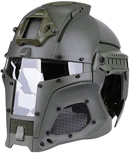 LLDKA Gasmaske Radfahren im Freien Taktische Sport Helm Vollmaske, Iron Knight Brille Paintball Fechten Schutz,Grün