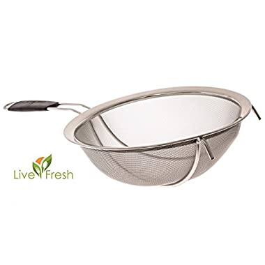 LiveFresh Large Stainless Steel Fine Mesh Strainer with Reinforced Frame and Sturdy Rubber Handle Grip - Designed for Chefs and Commercial Kitchens & Perfect for Your Home - 9 Inch/23 cm Diameter