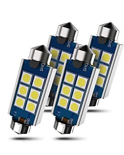 C5W 36mm LED con Canbus para Coche, 3030 SMD Festoon Dome Interior Bombilla, Luces de la Placa, 6411 6413 6418 6461 6486X DE3423 DE3425, 12V, 6000K blanco, 4 piezas
