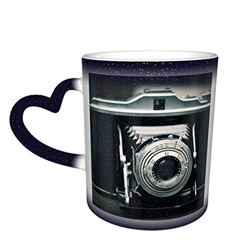 Cámara fotográfica Cámara Agfa Isolette Fotografía Taza que cambia de color antigua en el cielo Taza de cerámica Taza de café Regalo de cumpleaños de Navidad