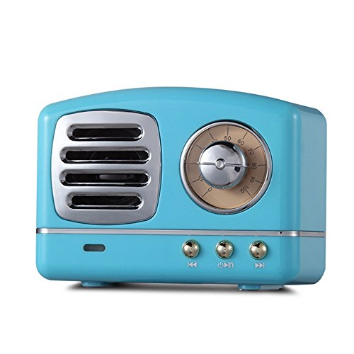 JUKUB Retro Bluetooth Lautsprecher Telefon Subwoofer Kreative Retro Radio Mini Wireless Karte Kleine Audio,Blue
