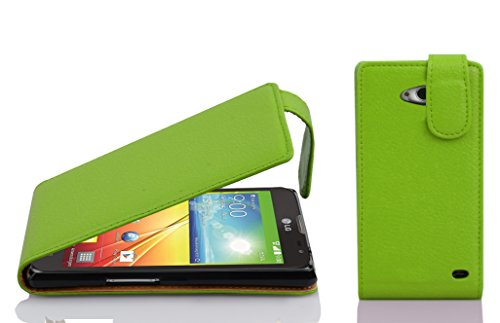 Cadorabo Hülle für LG L90 - Hülle in Apfel GRÜN – Handyhülle aus Strukturiertem Kunstleder im Flip Design - Hülle Cover Schutzhülle Etui Tasche