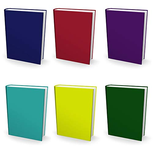 Easy Apply, Reusable Book Covers 6 Pk. Best Jumbo 9x11 Textbook Jackets for Back to School. Stretchable to Fit Most Large Hardcover Books. Perfect Fun, Washable Designs for Girls, Boys, Kids and Teens