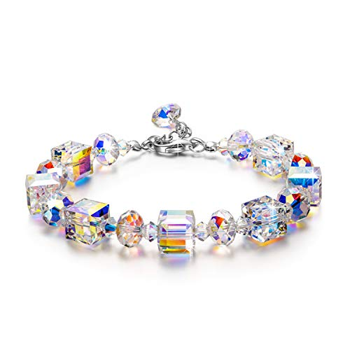 Crystal Bracelet, LadyColour A Little Romance Bracelet Swarovski Crystals Christmas Gifts 925 Sterling Silver Jewelry for Women Birthday Gifts for Women Girls Girlfriend Wife Daughter Friend Anniversa