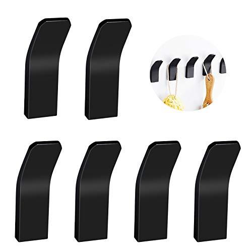 DAOUZL 6 Stück Schwarz Edelstahl Selbstklebend Handtuchhaken, Kleiderhaken, Wandhaken, Rostfrei, Ohne Bohren für Decke Badezimmer Küche Büro