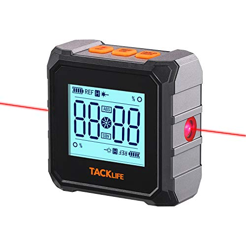 Digital Electronic Level and Angle Gauge Angle Finder Inclinometer Protractor and Laser Level 3-in-1,Bevel Gauge/Box,Aluminum Framework with Bottom & Back Magnet Certified IP54-TACKLIFE MDP03