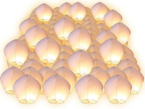 50 Piezas de linternas voladoras chinas, faroles tailandés farolillos del cielo romántica para aniversario, boda, San Valentín, partido nacional Screl®
