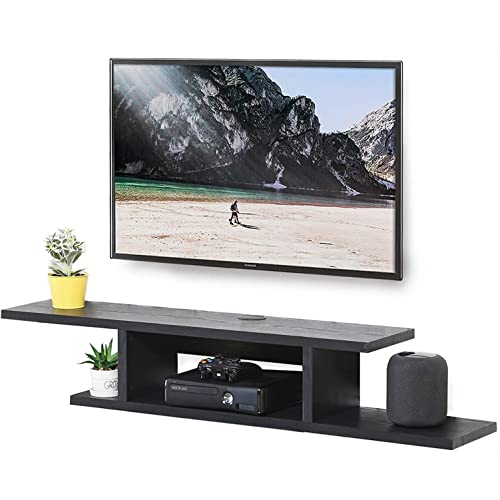 FITUEYES Wall Mounted Gaming Shelf, Floating TV Stand Component Shelf, Entertainment Center Unit