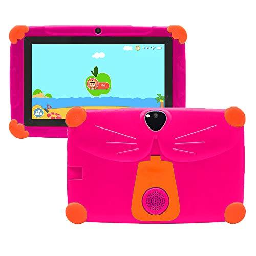 Kinder Tablet 7 Zoll 3GB +16GB Android 9 Elternkontrolle HD-Display Augenschutz, Sturzsicherer Ständer Halterung Vorinstallation Kids Edition-Tablet APP GMS-Zertifiziertes Tablet für Kinder(Rose)