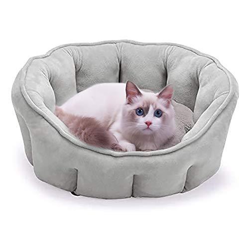 Queta Cama para Perros Gatos 46cm, Cuna para Perritos Sofá para Perro, Cojín Suave Comfortable para Mascotas Invierno Gris