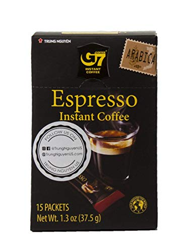 Trung Nguyen - G7 Instant Espresso Coffee – 15 Single Serve Sticks - Pure Arabica Vietnamese Espresso with Bold Tastes and Aroma (1 Pack)