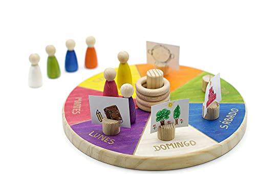Calendario Waldorf Montessori Semanal Perpetuo en Madera,Juguete Educativo para Niños + 3 años Castellano, Producto Artesano Hecho en España