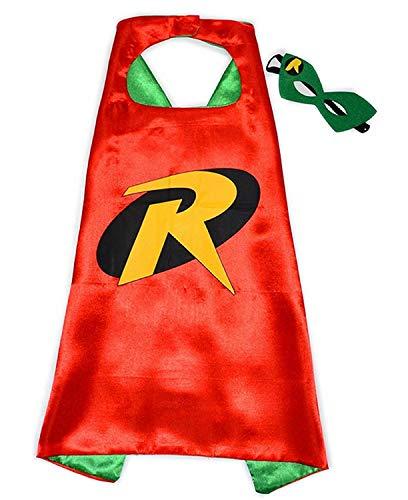 Inception Pro Infinite - Lot Batman Robin Kostüm - Verkleidung - Karneval - Fledermaus Mann - rote Farbe - Halloween - Maske - Mantel - Kind - 3/6 Jahre - Geschenkidee für Weihnachten und Geburtstag