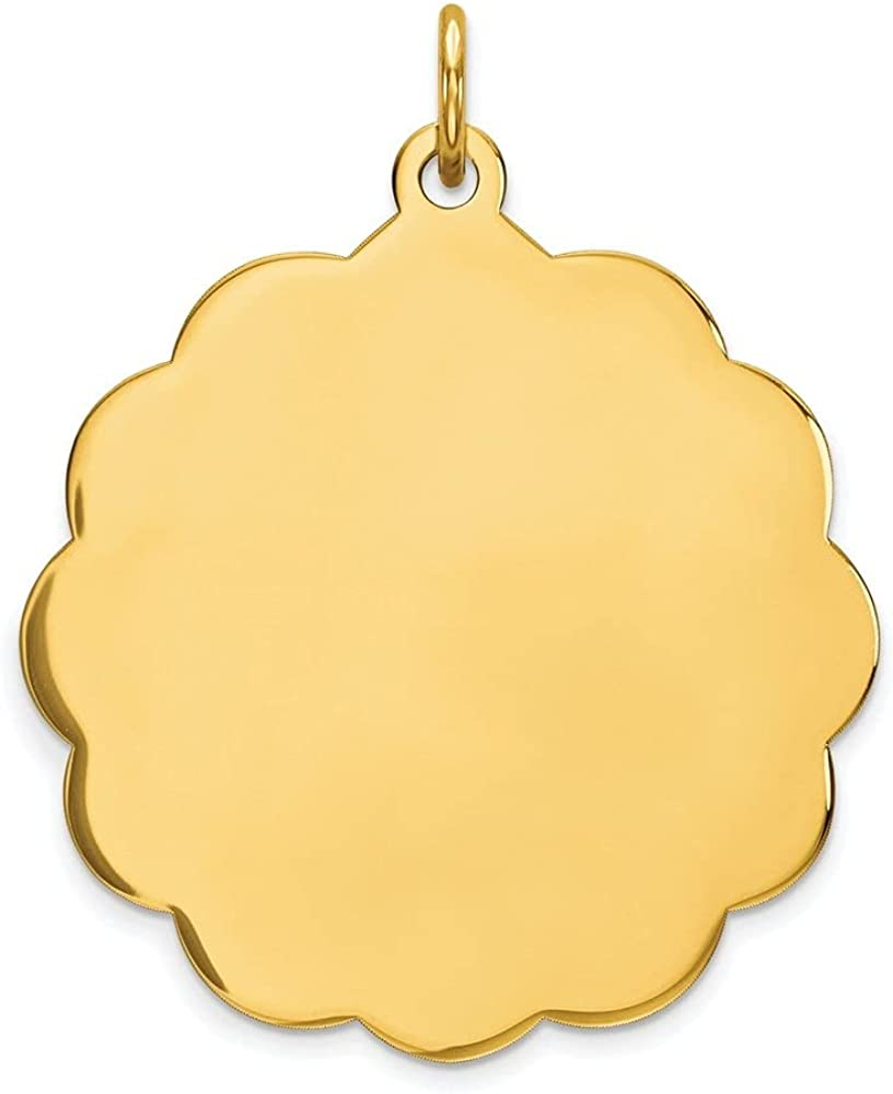14k Yellow Gold .013 Gauge Engravable Scalloped Disc Pendant (L- 31 mm, W- 25 mm)