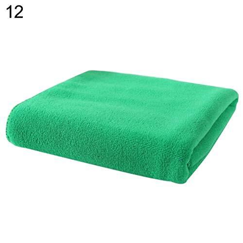 Piore Absorbant l'eau Serviette en Microfibre Douce Gant de Toilette Chiffon de Nettoyage Multi-usages baignant Le séchage des Cheveux Visage Lavage de Voiture essuyage, Vert foncé