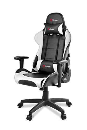 Arozzi Computer Gaming/Office Chair, Steel, White