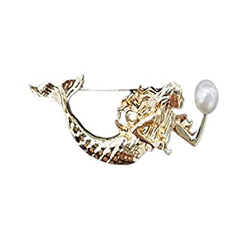 W WOOGGE Fashion Jewelry Women 18K Gold Alloy Mermaid Pear Brooch Pin For Girls Lapel Pin Clothes Accessory