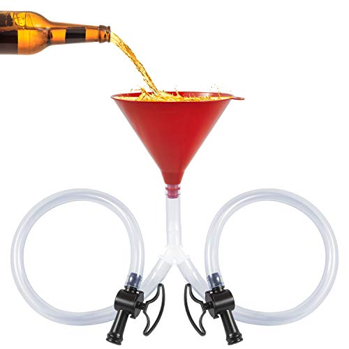 Beer Funnel with Valve, Double Beer Bong Funnel Extra Long 2.5 feet(30 inch) Tube Double Header Drinking Funnel Tool College Birthday Party Accessories, Bonus Beer Shotgun Tool