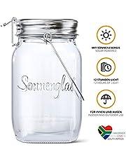 SONNENGLAS Classic 1000ml   Original Solarlampe/Solar-Laterne im Einmachglas aus Südafrika (inkl. USB)   warmweiß   Fair Trade   Bekannt aus Pro7 Galileo