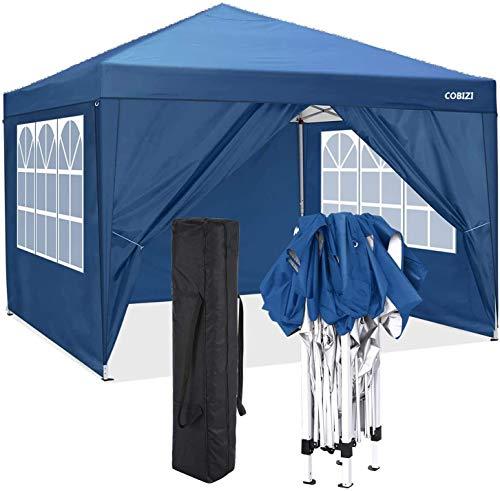 COBIZI Pavillon 3 x 3 WASSERDICHT, Pavillon inkl. Tasche wasserabweisend höhenverstellbar faltbar Pop-up Gartenzelt Partyzelt (3 x 3 m + 4 Seitenteilen + Tasche, Blau)