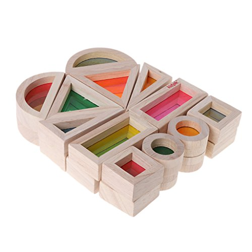 JERKKY Regenbogen Acryl Holz Bausteine Baby Pädagogisches Spielzeug Montessori Kinder Spielzeug