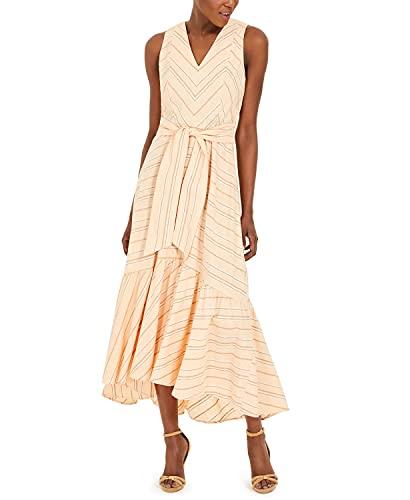 Calvin Klein Women's Linen Cotton Striped Belted Maxi Dress Orange 14