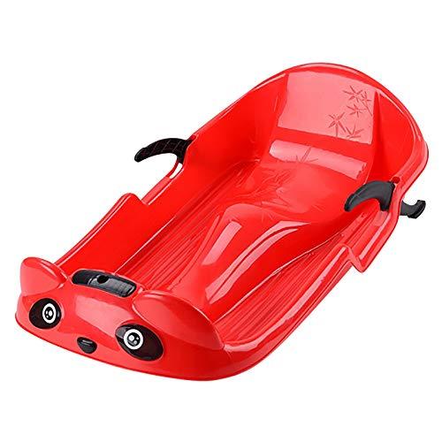 Bob Schlitten Kinder mit Lenkrad Lenkschlitten Schneebob Skibob, 2 Griffe mit Stabilität und Bremsschutz (Rot)