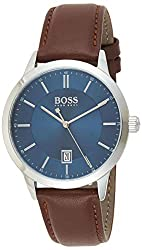 3-Hand quartz case thickness 9.0mm blue sunray brushed dial brown smooth leather strap 3 atm water resistance Case thickness 9.0mm Blue sunray brushed dial Brown smooth leather strap 3 atm water resistance
