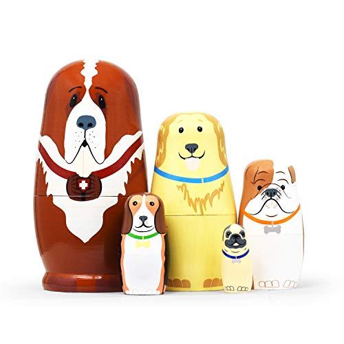 Russische Matroschka für Kinder 5 Stück - Tiere Hunde Matroschka Holz Spielzeug ab 3 Jahre Geschenk (Hunde)