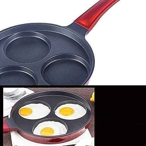 Wok Antiadherente Skillet Cacerola Wok Cocinar Pot Sopa Sopa Red Non- Stick Pot Molde Tres Agujeros Mini Gas Hogar Para Hacer Paquete Huevo Frito