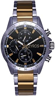 ZYROS Men's Silver Gold Dial Small Multi Counter Wide Dial Stainless Steel Watch Inside, Luxury Classic Design Watch