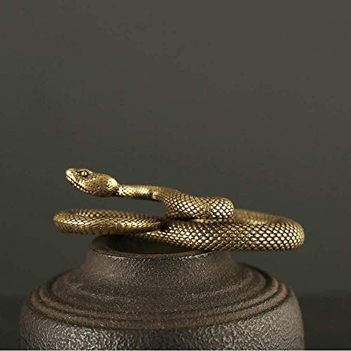 Gpzj Fait à la Main Disque du Zodiaque Serpent en Laiton Porte-clés Python Ceinture Suspension Boucle Petit cuivre Python Ornement Sculpture décoration Artisanat, B