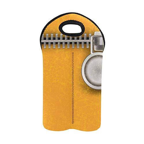 Wein-Einkaufstasche Zusammenfassung Gelb Schließen Stahl-Reißverschluss Wein-Tragetasche Doppelflaschenträger Weinflaschentasche Dicker Neopren-Weinflaschenhalter Hält Flaschen ges