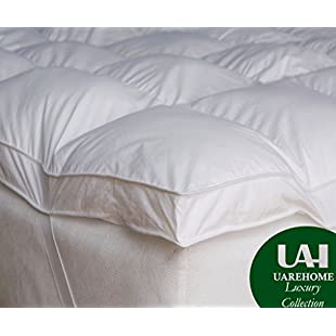 New 4 inch (10cm) Deep Mattress Topper, Box Stitched, Elasticated Corners Perfect Fit, 230TC Cover, Ultralite Microfibre All Sizes (Double):Interdir