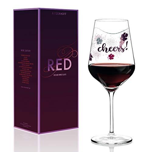 RITZENHOFF Red Rotweinglas von Lenka Kühnertová, aus Kristallglas, 580 ml, mit edlen Platinanteilen