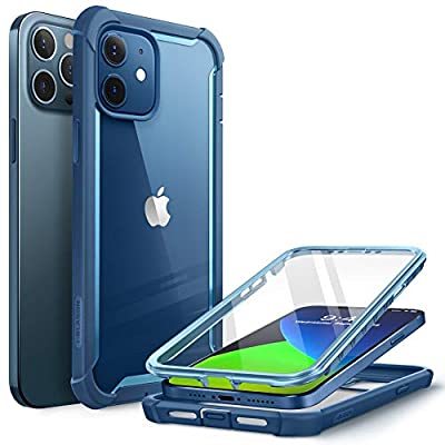 i-Blason Ares Case for iPhone 12, iPhone 12 Pro 6.1 Inch (2020 Release), Dual Layer Rugged Clear Bumper Case with Built-in Screen Protector (Blue)